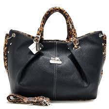 Coach Madison Leopard Large Black Satchels ACN