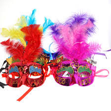 Mask Decorating Supplies 100pcslot Multi Color Halloween LED feather Mask party flash mask 59