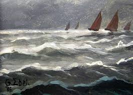 two oil paintings ships and boats on stormy sea oil on wood