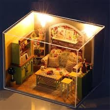 handmade dolls house furniture. Wholesale 3d Handmade Doll House Furniture Miniatura Diy Living Room Miniature Dollhouse Wooden Toys For Children Girl Kids Birthday Gift Family Dolls P