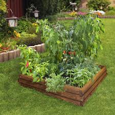 picture of garden landscaping decoration using rustic solid wood raised garden bed including free perennial garden shades and backyard vegetable garden