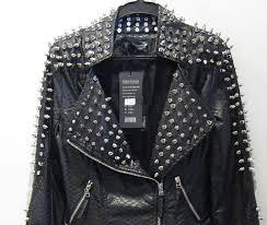 2016 pu leather jacket coat women zipper black glod punk strong spike rivet studded shoulder snake