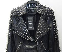 2016 pu leather jacket coat women zipper black glod punk strong spike rivet studded shoulder snake