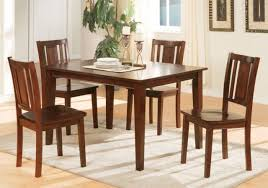 chic contemporary casual 5 pcs simple dining table set 4 chairs wood dark cherry