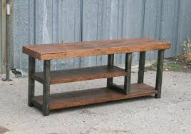 industrial wood furniture. Perfect Industrial Steel And Reclaimed Wood Bench Intended Industrial Wood Furniture R