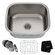 kraus 20 inch undermount single bowl 16 gauge stainless steel kitchen sink with noisedefend 8482