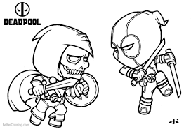 Baby Deadpool Coloring Pages Fight Against Ghost Free Printable