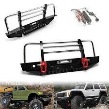 Car Front Bumper Led Lights Aluminum Alloy D90 Axial 90046 Front Bumper Protector With Led Light For Scx10 Scx10 Ii Rc Car Parts