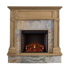 stone media electric fireplace in weathered gray oak