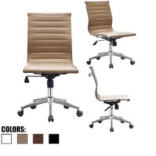 eames ribbed chair tan office. 2xhome Tan Sleek Swivel Modern Adjustable PU Leather Office Chair Mid-Back Armless Ribbed Eames I