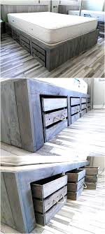 Rustic Look Giant Pallet Bed with Storage | Wooden pallet beds ...