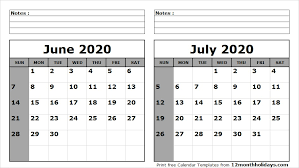 June July 2020 Calendar June July 2020 Calendar Printable All 12 Month Calendar
