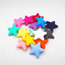 BEST PROMO <b>Chenkai 50pcs BPA</b> Free 45mm Silicone Star Beads ...