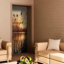 Free Shipping 3D Twilight Seaside Door Sticker For Bedroom Living Room Gift  Removable PVC Waterproof Decal