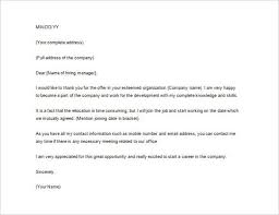 Thank You Letter After Job fer Example Word Form