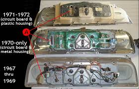 identifying ford pickups page of com a wiring harness connection pictured here are the differences in the instrument panels the 67 69 panels had a stamped steel rear gauge housing using