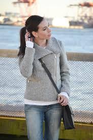 wool moto jacket straight jeans