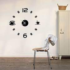 diy number coffee cup wall clock sticker