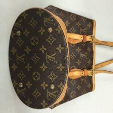 louis vuitton used. authentic used louis vuitton bucket pm shoulder or arm purse in monogram c