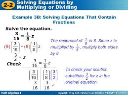 example 3b solving equations that contain fractions