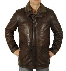 sl12562 mens hip length brown leather coat with zip off collar