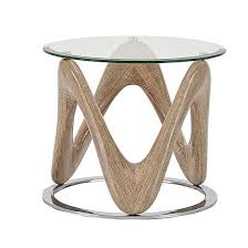 dunic glass lamp table round in sonoma oak and chrome 1