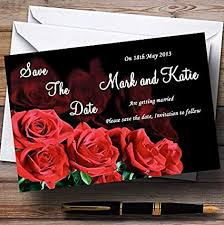 Red Save The Date Cards Amazon Com Black And Red Roses Personalized Wedding Save