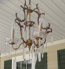 vintage petite brass and crystal chandelier made in italy rewired