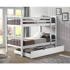twin bunk beds white.  Beds Shop Solid Wood Twin Bunk Bed With Trundle  White On Sale Free  Shipping Today Overstockcom 14792100 Beds U