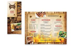 Restaurant Menu Design Templates Steakhouse Bbq Restaurant Take Out Brochure Template Design