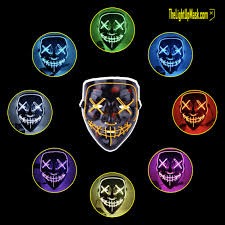 Light Up Mask Light Up Stitches Purge Mask Led Rave Gear 8 Color Options 3 Flashing Modes Face Mask Festival Cosplay Halloween Costume Party