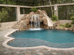 Pool Designs With Rock Slides Free Form Pool With Slide All Aqua Pools Rock Wall Slide