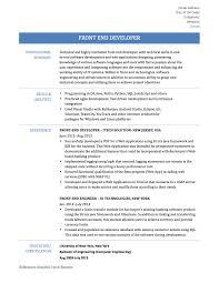 Front End Developer Resume Contemporary Objectivejob Sample
