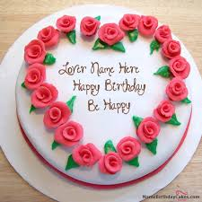 Write Name On Roses Heart Birthday Cake Happy Birthday Wishes