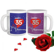 35th wedding anniversary gift set of 2 printed coffee mugs with rose