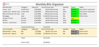 excel bill printable monthly bill organizer for excel free pdf log sheet