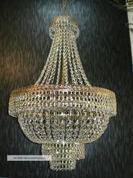 vintage 20 large antique brass crystal chandelier lighting unique french 70s