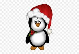 cute penguin christmas clipart. Penguin With Santa Hat Cute Christmas Clipart And