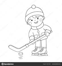 coloring page outline of cartoon boy playing hockey winter sports coloring book for kids