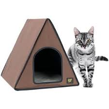 outdoor cat house heated. frontpet 40 watt canvas heated a-frame cat house for outdoor \u0026 indoor cats. e