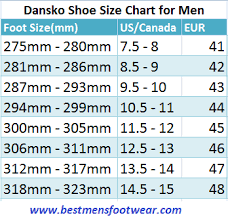 Dansko Shoe Sizing Chart For Men Best Mens Footwear
