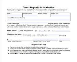 Direct Deposit Template Free Sample Direct Deposit Authorization Form 7 Download Free