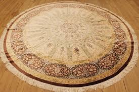 large round qom silk persian rugs with 800kpsi 8 round pure silk masterpiece qum
