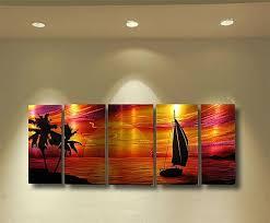 abstract metal wall art painting tropical beach scene modern contemporary decor sculpture sailboat sunset by robert hawk on metal wall art beach scenes with abstract metal wall art painting tropical beach scene modern
