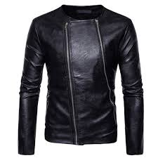 aude men s autumn winter long sleeve solid zipper leather motorcycl jacket top