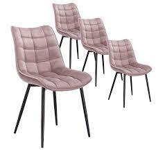 Woltu 4 X Esszimmerstühle 4er Set Esszimmerstuhl Küchenstuhl Polsterstuhl Design Stuhl Mit Rückenlehne Mit Sitzfläche Aus Samt Gestell Aus Metall