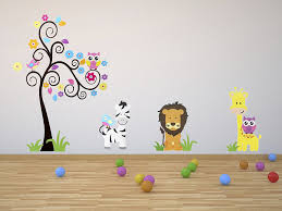 Enfants Stickers Muraux Grand Arbre Et Animaux De La Jungle Stickers Chambre Bebe Garcon Jungle