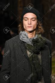 new york ny january 26 model walks the runway wearing john varvatos fall winter 2018 with makeup by chika chan for make up pro and hair by yannik d is