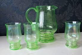 large glass jug uranium with 3 green decor large glass jug