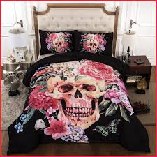 cilected 3d skull bedding sets flower 3pcs bedclothes black sugar skul duvet cover sets twin full skull bedding bed bath and beyond skull baby bedding